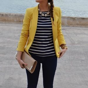 Talbots Women's Mustard Wool Blend Blazer SZ 10